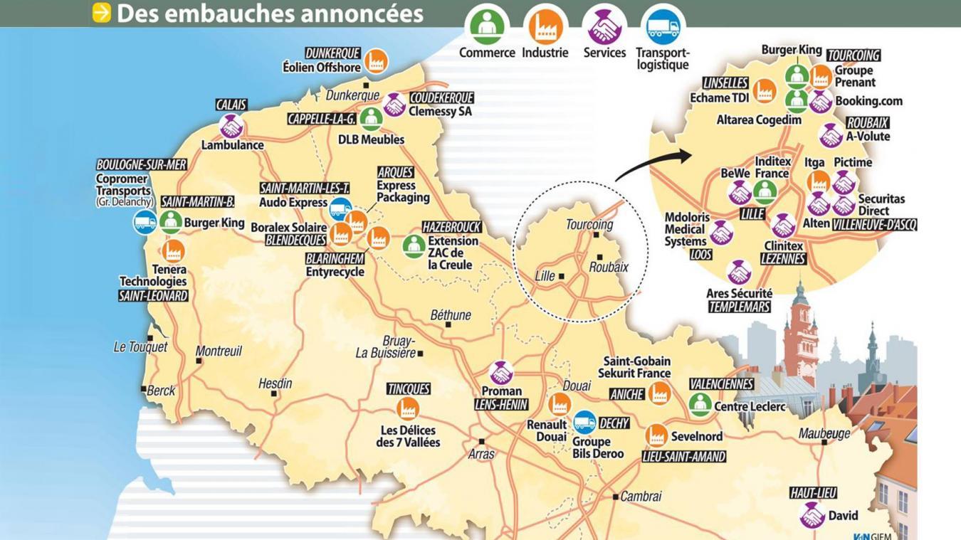 Carte Des Burger King Espagne.La Carte Des Embauches Dans Le Nord Pas De Calais
