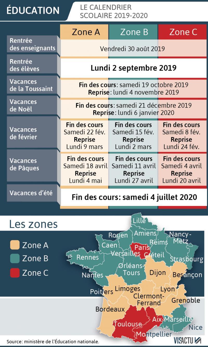 Calendrier Cfa 2020 2019.Les Dates Des Vacances Scolaires Pour L Annee 2019 2020