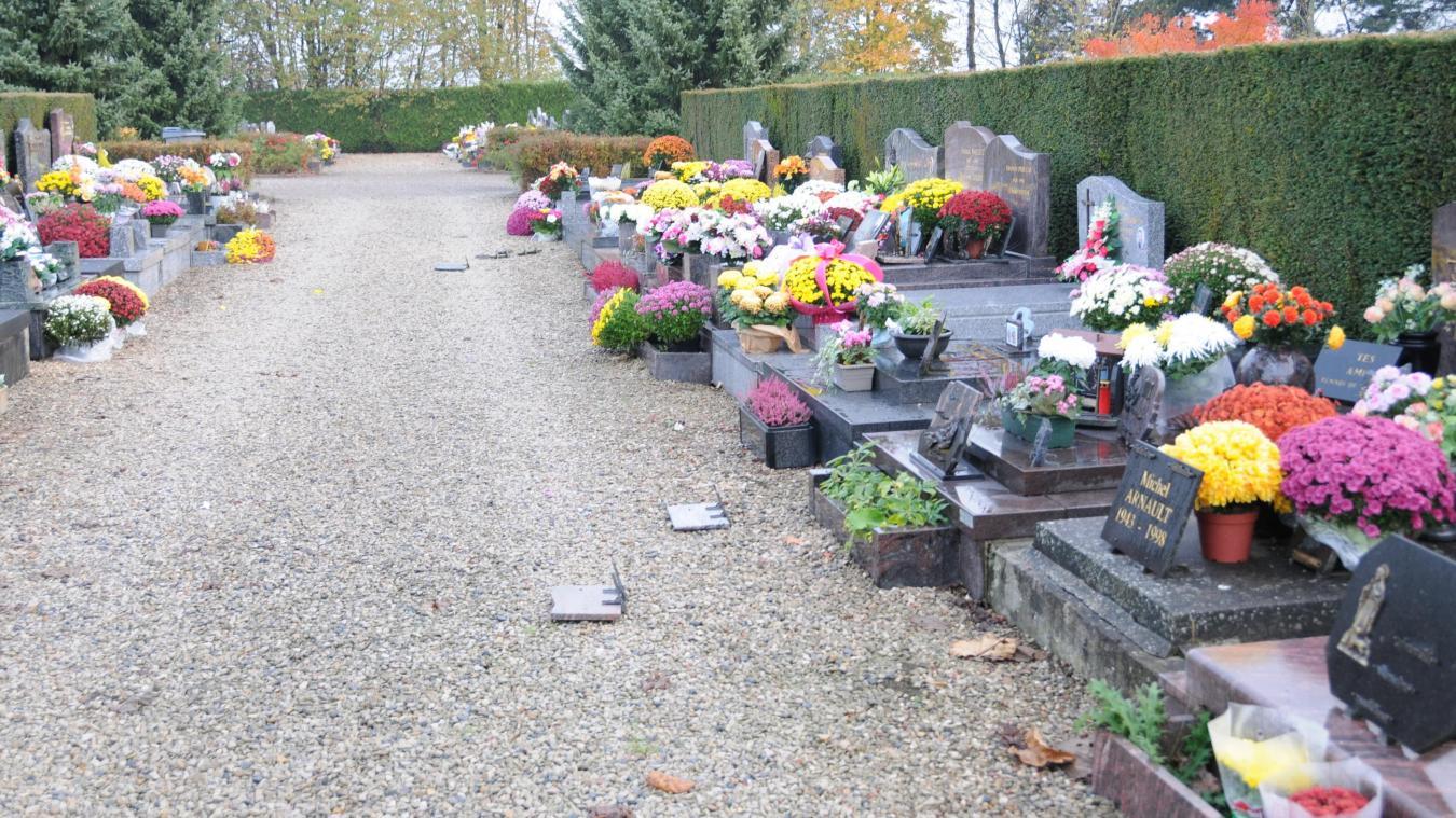 Des fleurs et des plaques funéraires ont été renversées dans les allées D  et G du cimetière, dans la nuit de vendredi à samedi.