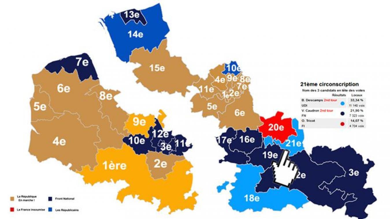 carte des circonscriptions du nord LÉGISLATIVES Les candidats qualifiés pour le second tour dans le