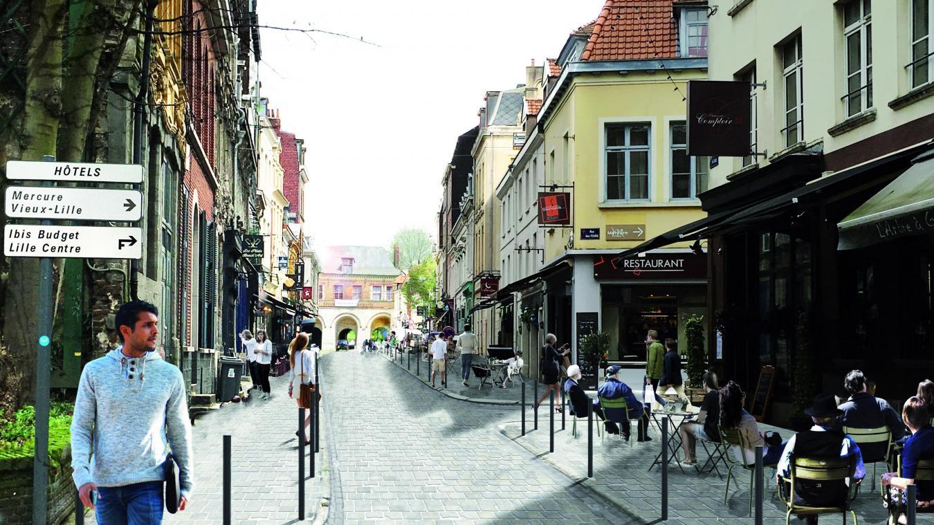 Sur Ce Visuel, La Rue Après Travaux : Nouveau Pavage, Nouveau Mobilier  Urbain,