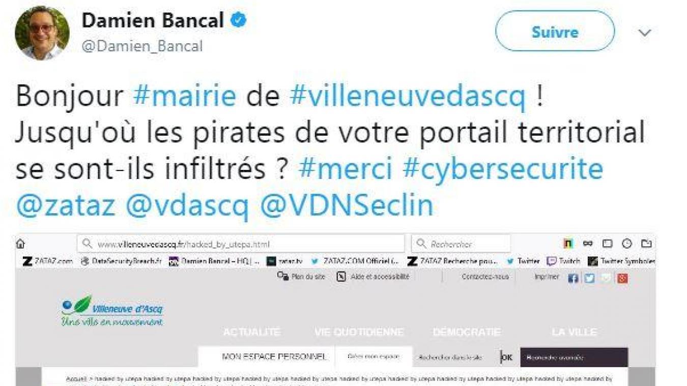 Damien Bancal a alerté la ville du piratage récent de son site internet.