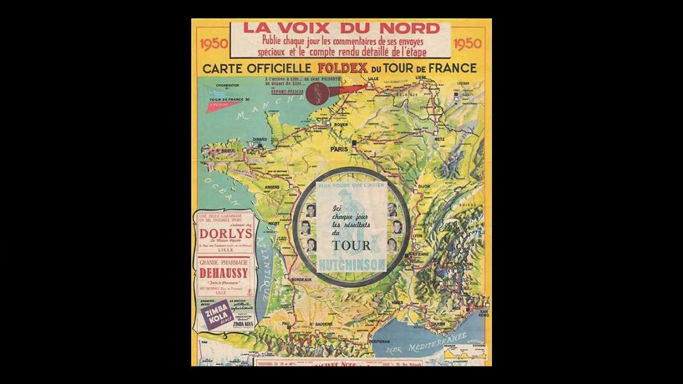 Insolite Une Carte Du Tour De France La Voix Du Nord En Vente à