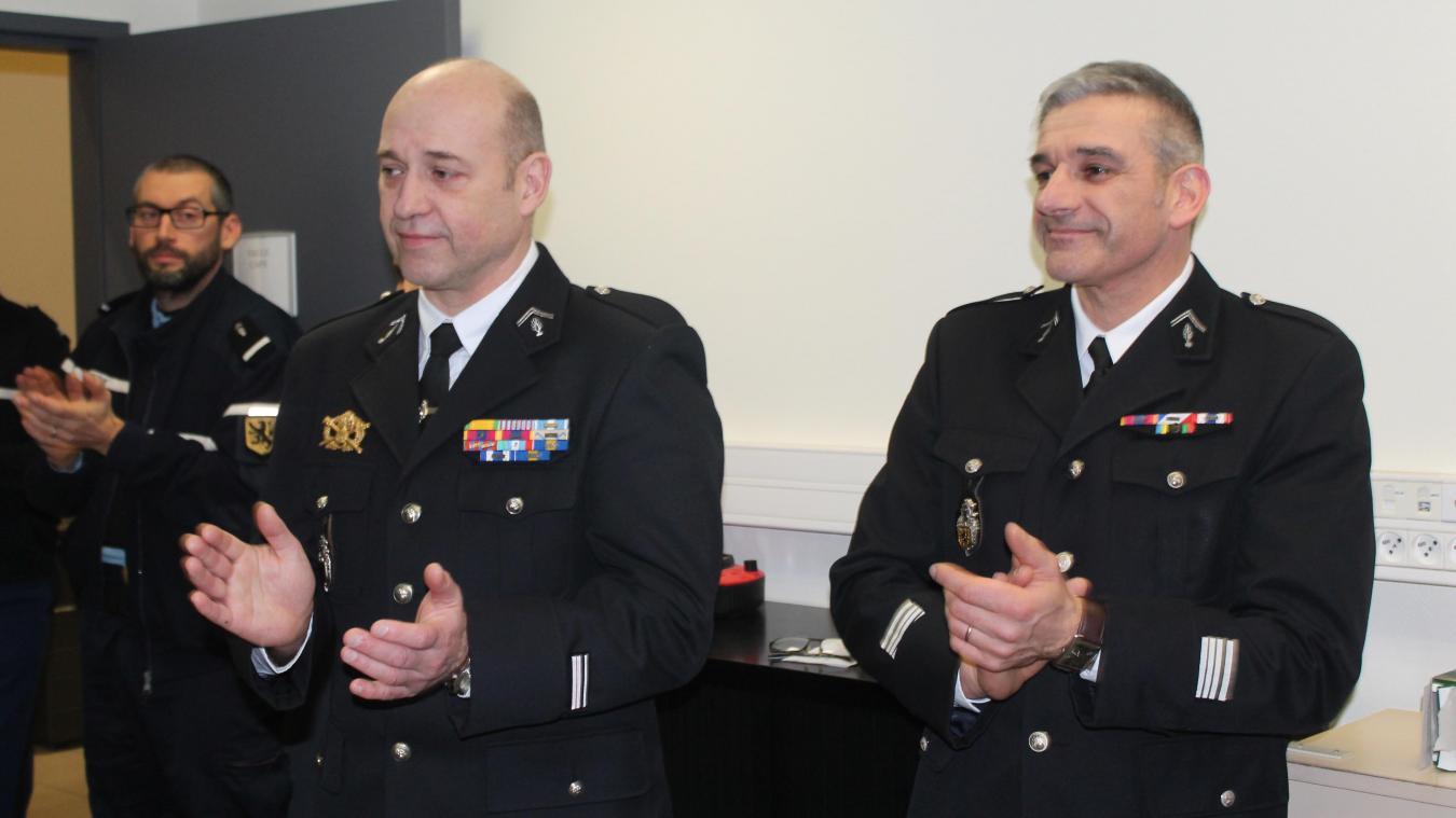 Le major Legrand a accueilli le commandant Kerleau (à droite) pour la visite de l'inspection annuelle.