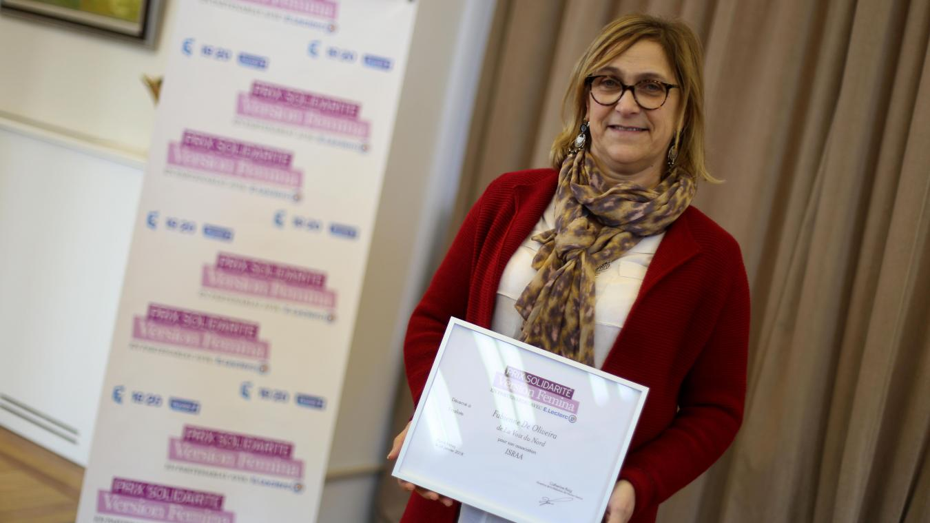 Fabienne De Oliveira, fondatrice de l'association ISRAA, a reçu ce mercredi le Prix Solidarité Version Femina 2018. PHOTO BAZIZ CHIBANE