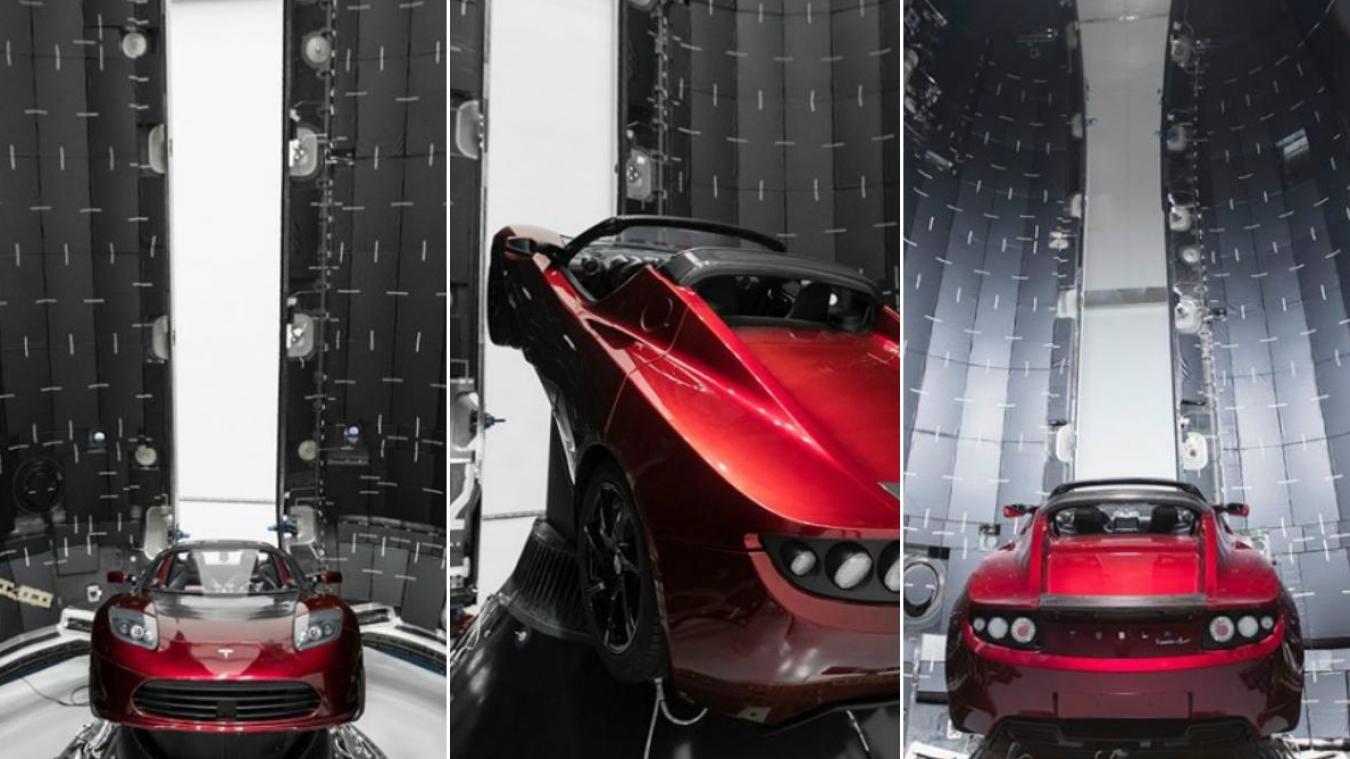 Le roadster, couleur cerise, a été placé dans le lanceur Falcon Heavy, dernier né de la société SpaceX d'Elon Musk, également patron de la marque automobile Tesla. Capture d'écran Instagram