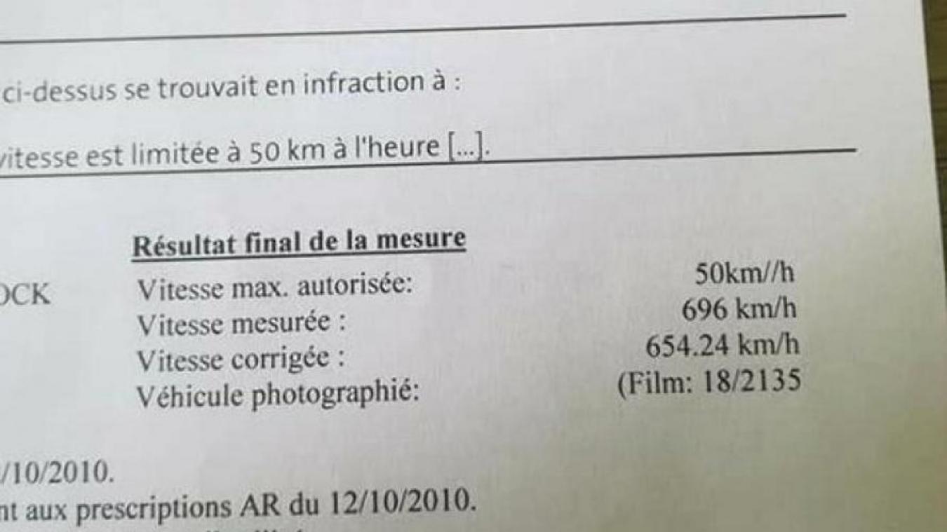 Un automobiliste flashé par erreur à... 696 km/h — Belgique