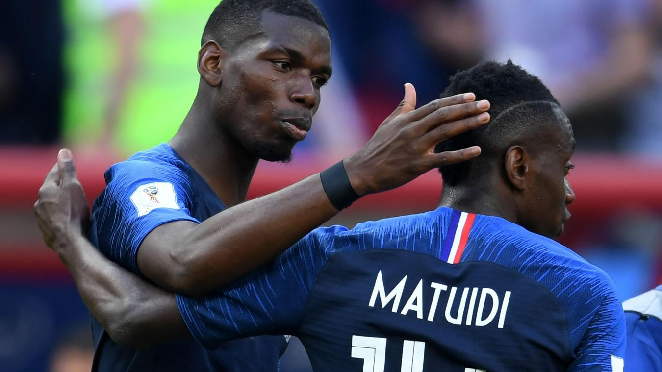 109886c74bf366 France s midfielder Paul Pogba and France s midfielder Blaise Matuidi  celebrate their team s win in the Russia