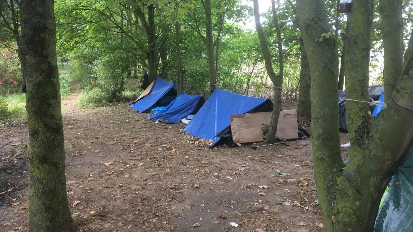 Les migrants ont installé des bâches pour se protéger de la pluie.