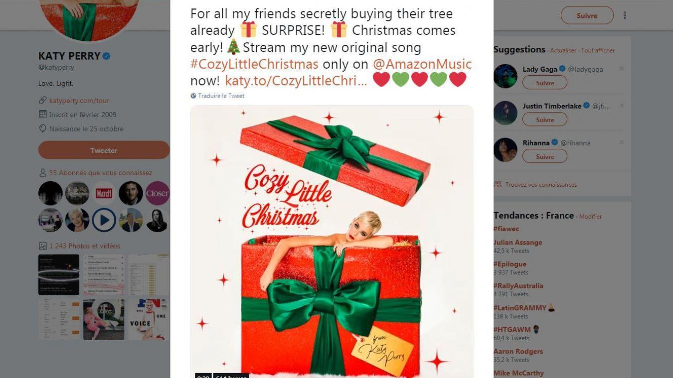 Katy Perry célèbre Noël avec une nouvelle chanson — ÉCOUTEZ