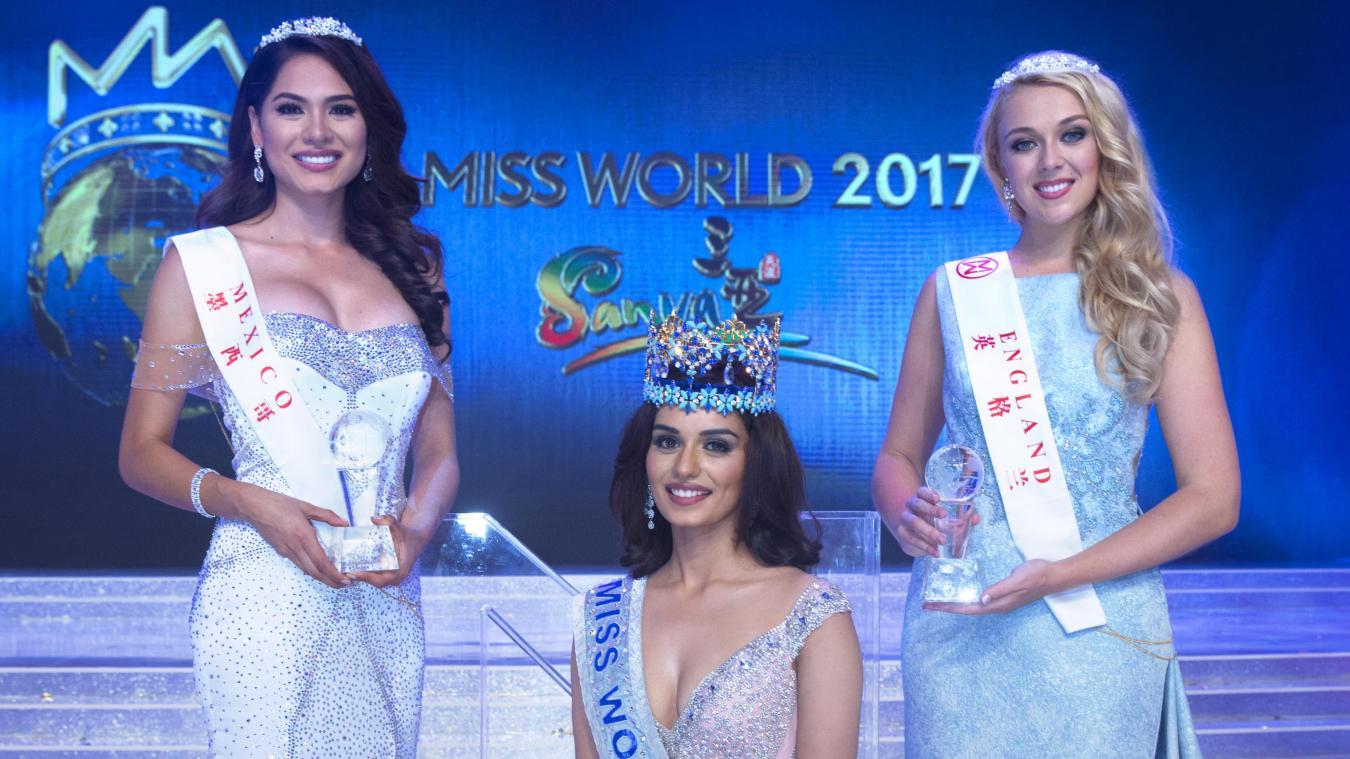 Manushi Chhillar Miss Monde 2017 et ses deux dauphines