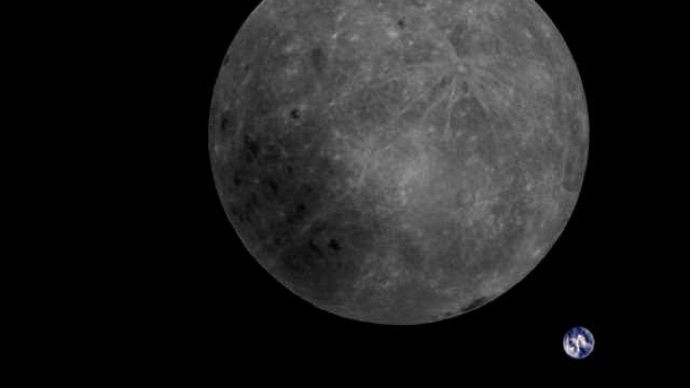 Le satellite chinois Longjiang-2 capture une magnifique photo de la Lune avec la Terre en arrière-plan