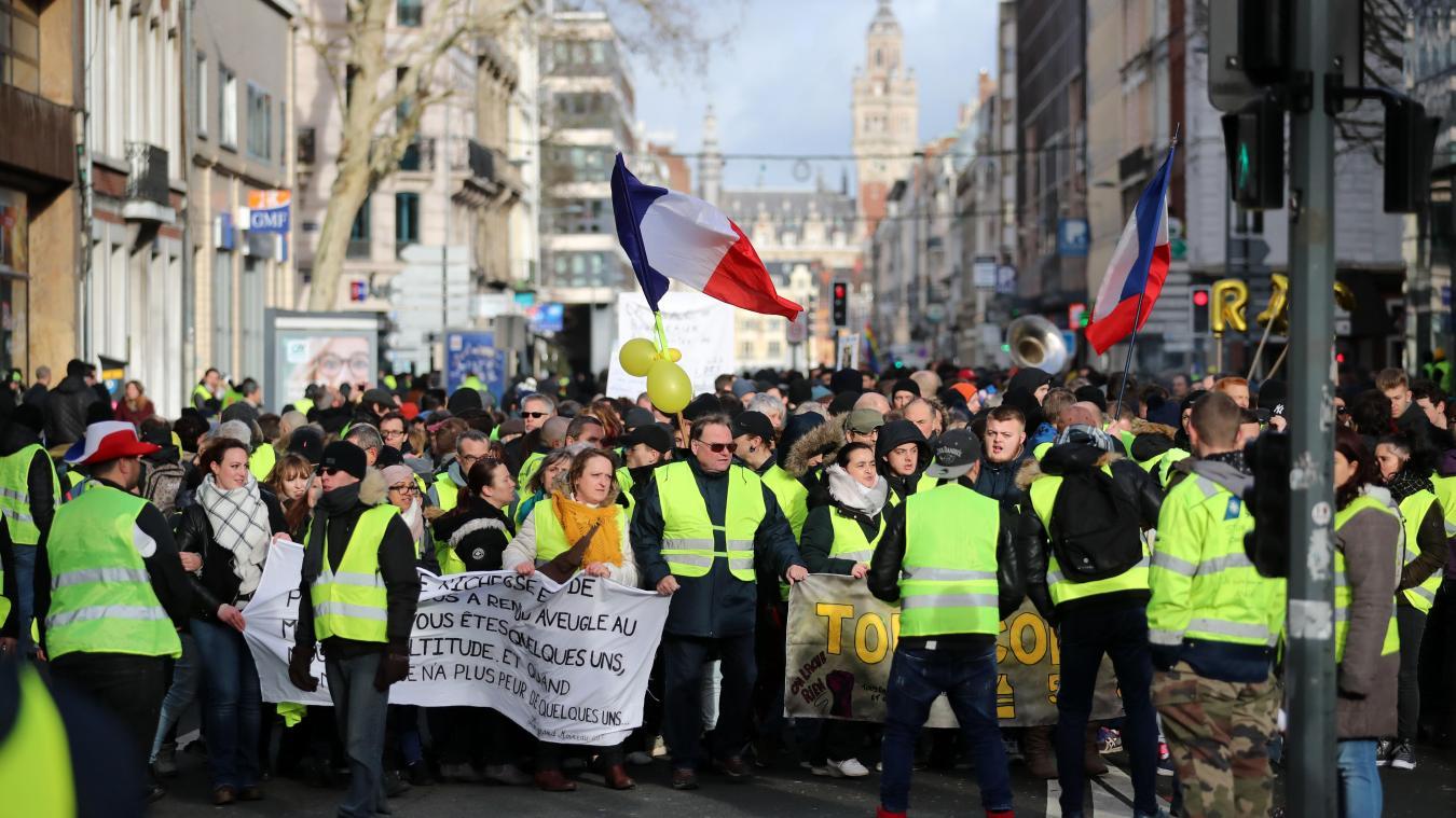 f7a5a6a5320 Près de 1 300 Gilets jaunes ont défilé dans les rues de Lille samedi. Photo