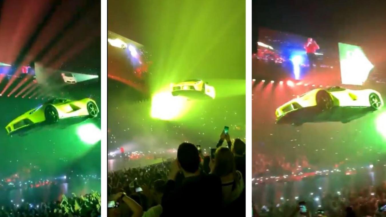 Vidéos: Ferrari volante et demande en mariage... l'incroyable concert de Drake