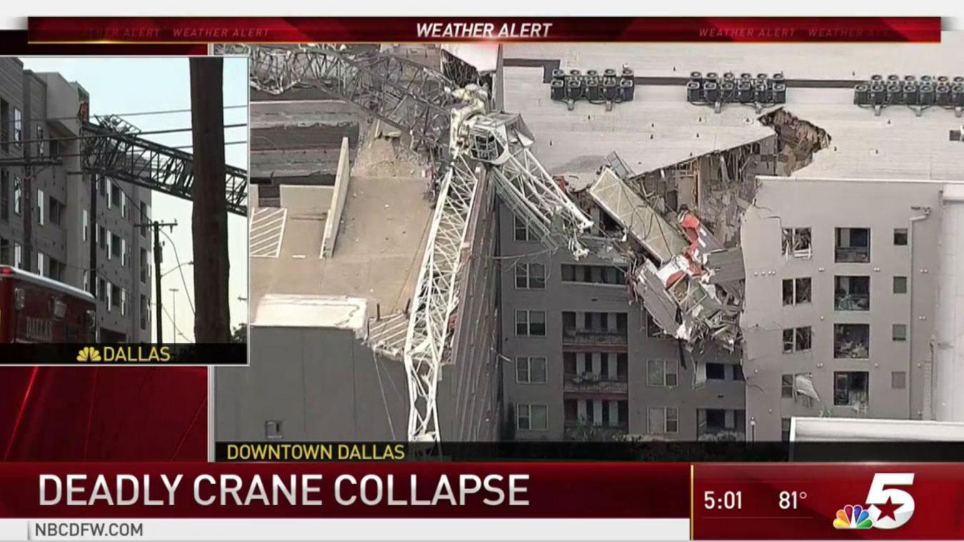 Une grue s'effondre à Dallas faisant 1 mort et 6 blessés