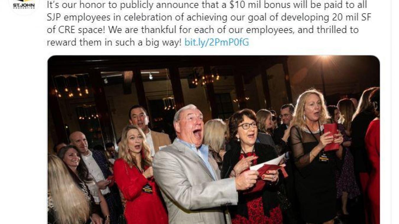 Un patron offre un bonus de 10 millions $ à tous ses employés