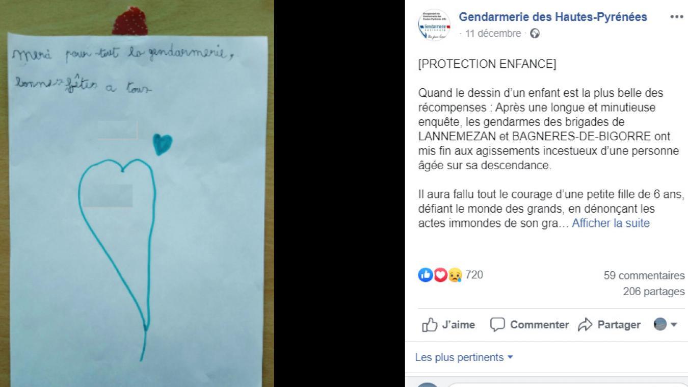 Victime De Pedophilie Une Fillette Remercie Les Gendarmes Avec Un