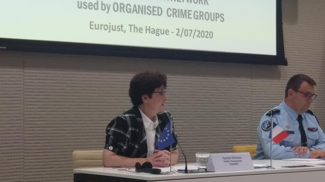 La procureure de Lille Carole Etienne pilotait ce jeudi à La Haye la présentation d'une enquête qui a démantelé EncroChat, plateforme utilisée à des fins criminelles.