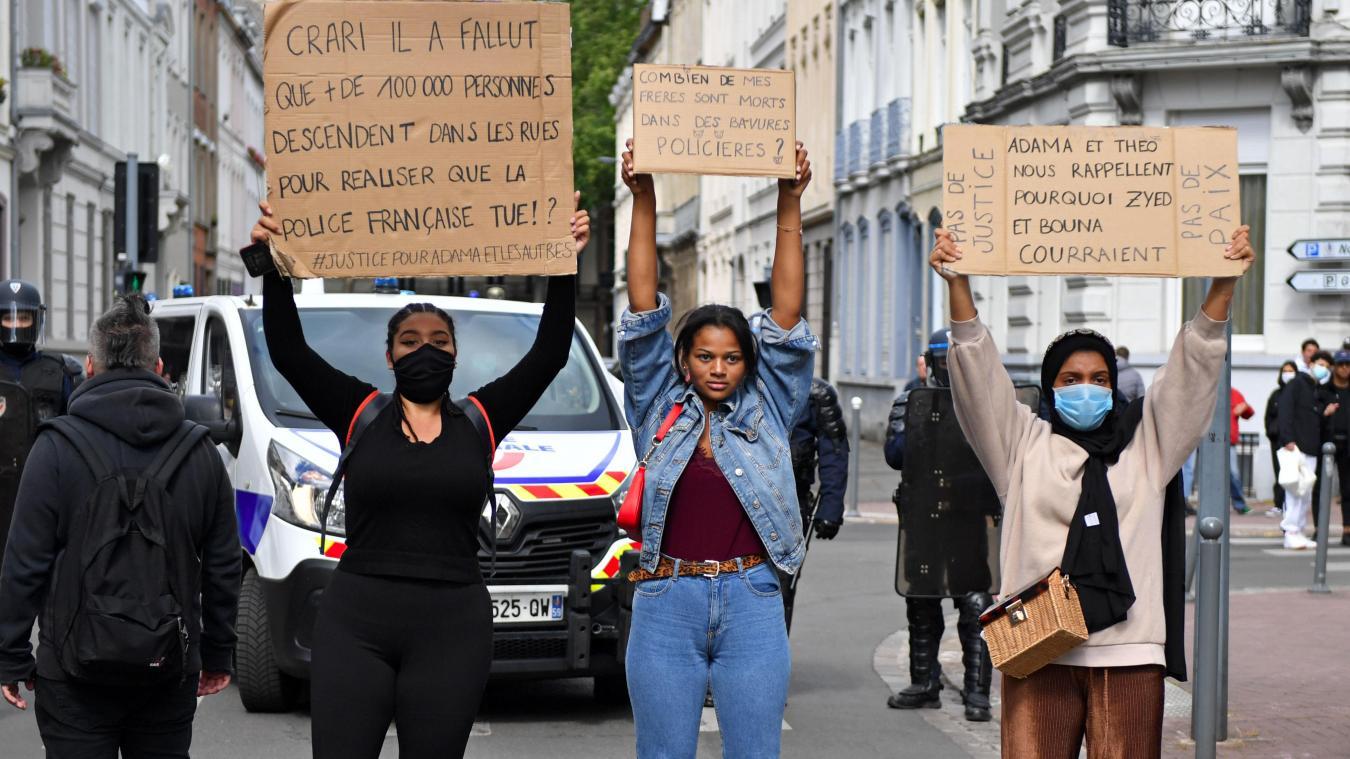 Si,en juin, la première marche lilloise Black Lives Matter se déroule sans heurt, deux jours plus tard, le rendez-vous suivant (2000 manifestants), se révèle «un peu plus chaud». PHOTO FLORENT MOREAU