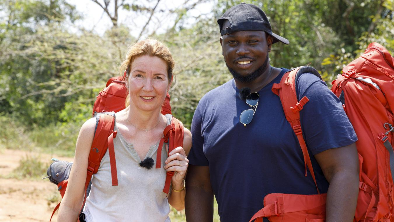 Sabine a rencontré Loïc dans l'avion. Ils ont formé le binôme d'inconnus tout au long de l'aventure. Photo Patrick Robert M6.