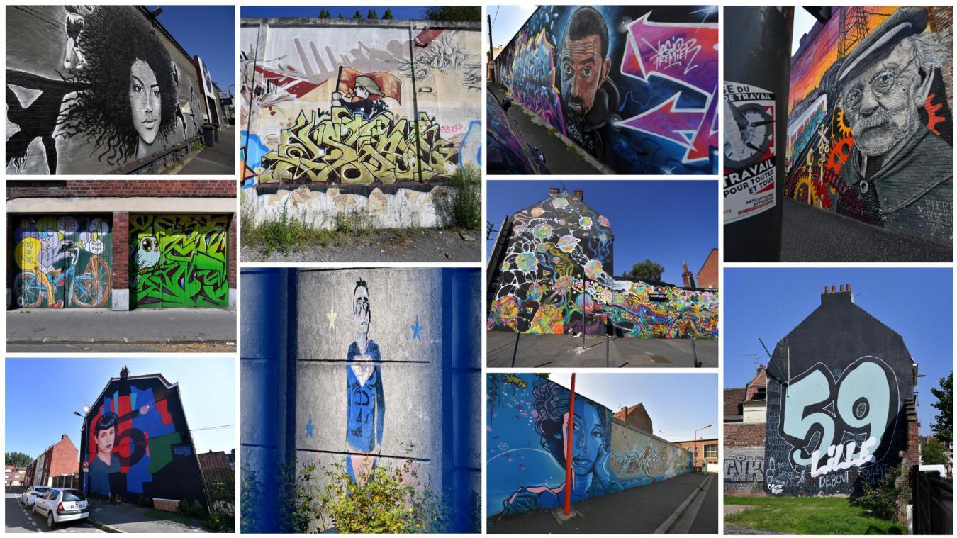 Sur des pans de murs entiers, au détour d'une rue ou sur le décor urbain, les œuvres de street art se trouvent un peu partout à Fives et Hellemmes. Photos Florent Moreau