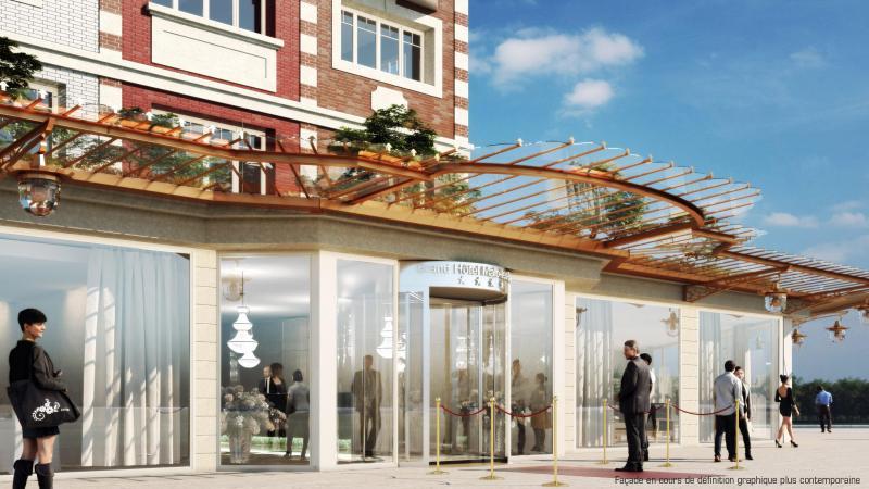 Ce visuel, proposé par le groupe Pichet, donne une idée de ce que pourrait être l'entrée du futur hôtel.