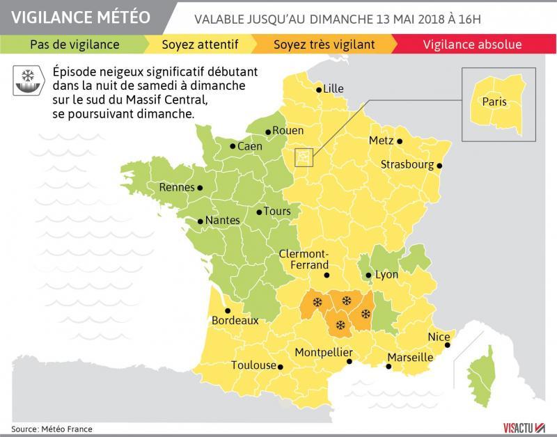 4 départements placés en vigilance orange par Météo France — Neige et verglas