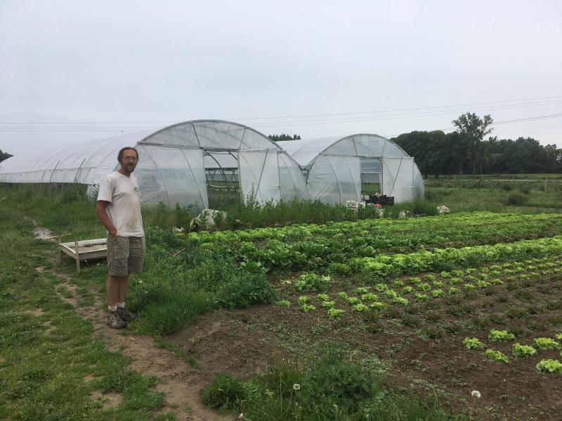 Regis Dufrenoy, maraîcher bio est installé depuis novembre 2015 à Cantin avec sa ferme La Terre Ferme.