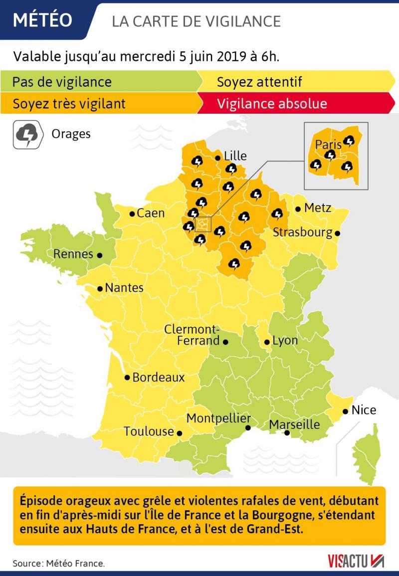 Carte Vigilance Orange Bourgogne.Meteo Vigilance Orange Orage Et Vent Dans Le Nord Et Le Pas
