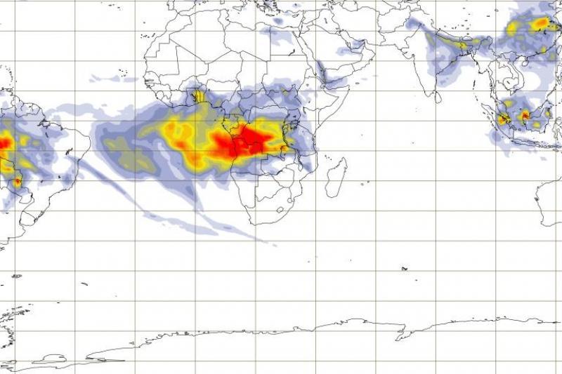 Les dégagements d'aérosols atmosphériques liés à la combustion de biomasse en Afrique, ce 22 août. Crédit CAMS
