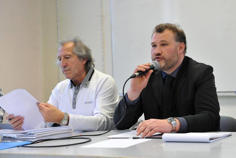 Dany Dusart, ancien président lors de son discours avec Jean-Claude lequeux, directeur musical.